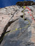 Rock Climbing Photo: Yellow is Goodall Times Red is The Great Ape Escap...
