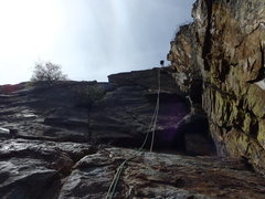 Rock Climbing Photo: Looking up pitch two as Phil raps down.  Follow th...
