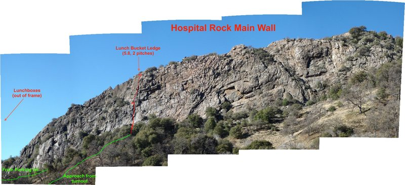 Hospital Rock main wall.  Large photo, zoom in.  Lunch Bucket Ledge is one of the few distinct recorded lines on this rock (with bolted anchors).  Just pick a line and climb!