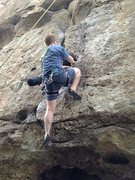 Rock Climbing Photo: The namesake for his route. For me the crux was ju...