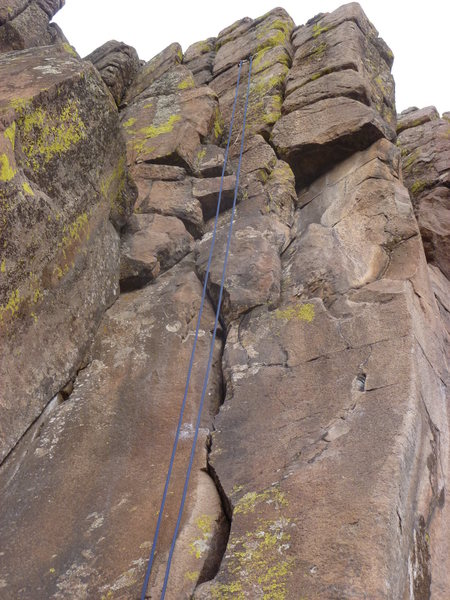 Rock Climbing Photo: The crack with a rope showing the anchors.