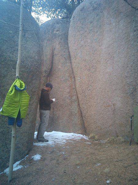 Eben standing in front of Handcrack.