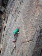 Rock Climbing Photo: Ben balances up the delicate face moves.