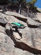 "Rock Climbing Photo: Ben spans big - 6'6"" - to make the low crux t..."