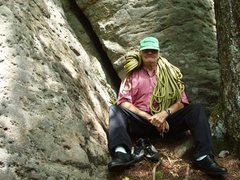 Rock Climbing Photo: Dad, 80+, at the base of the route.