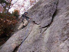 Rock Climbing Photo: Setting out on the FA. Note the huge flake - you d...