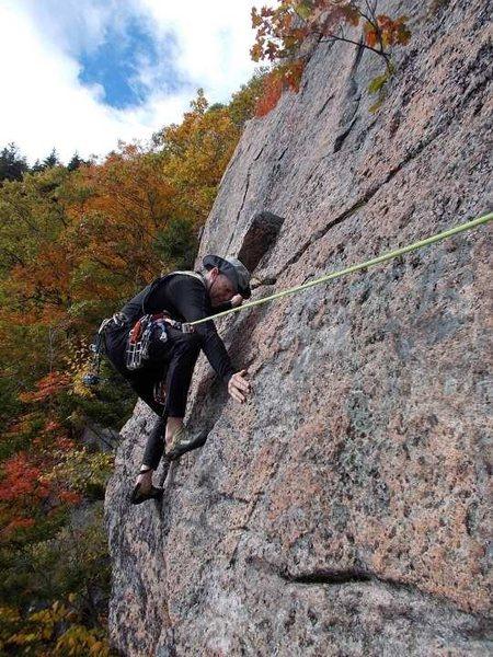 Rock Climbing Photo: Tom Lane starting up the 2nd pitch.