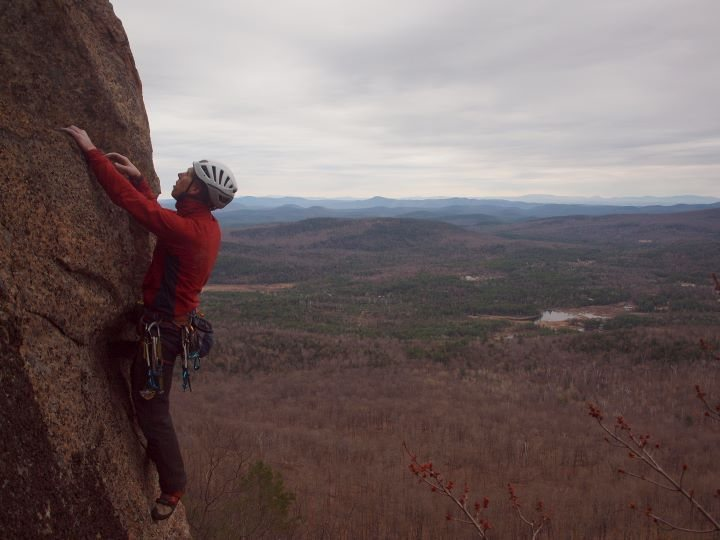 Rock Climbing Photo: Approaching the final difficulties on the FA.
