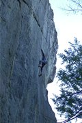 Rock Climbing Photo: Will C midway through the crux.