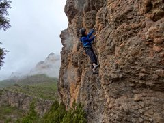 Rock Climbing Photo: TRing one more lap on the route in the steady driz...