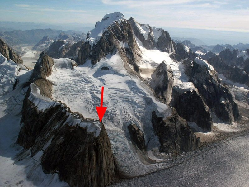 The toe of the most north/western shoulder on the Moose's Tooth Massif... The Gargoyle