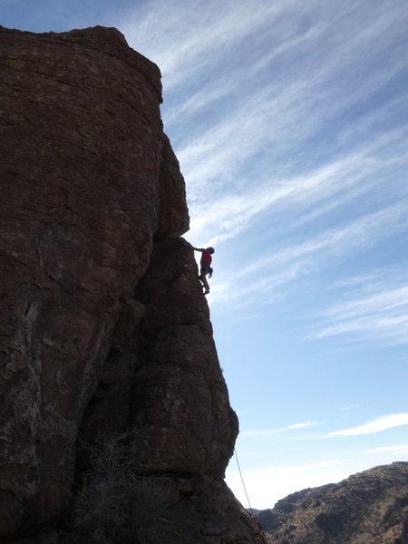 Rock Climbing Photo: Joe Garcia midway up the route