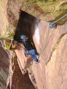 Rock Climbing Photo: Crystal getting in the Bombay Chimney on P4 of The...