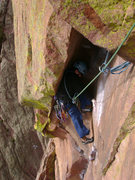 Rock Climbing Photo: Crystal in the Bombay Chimney on P4 of The Naked E...
