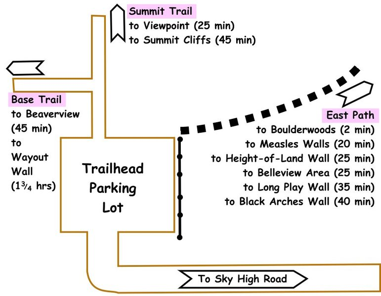 Diagram showing directions to various crags on Crane Mountain
