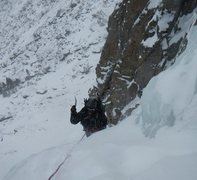 Rock Climbing Photo: Deb tops out P1 of West Gully.