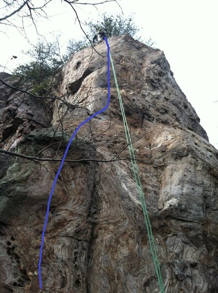 Not sure if this is the route, but its fun.  Top section is thought provoking great climbing.