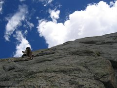 Rock Climbing Photo: Seconding the third pitch. The crux 5.10 dihedral ...