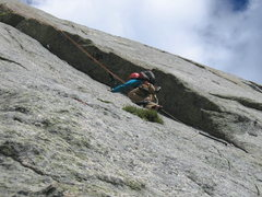 Rock Climbing Photo: My 12 year old, Zack, seconding the crux dihedral ...