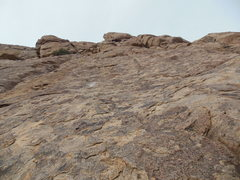 Rock Climbing Photo: Looking up at the last bolt. It is all trad past h...
