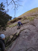 Rock Climbing Photo: Josh leading, Aminda belaying.  This shot shows th...