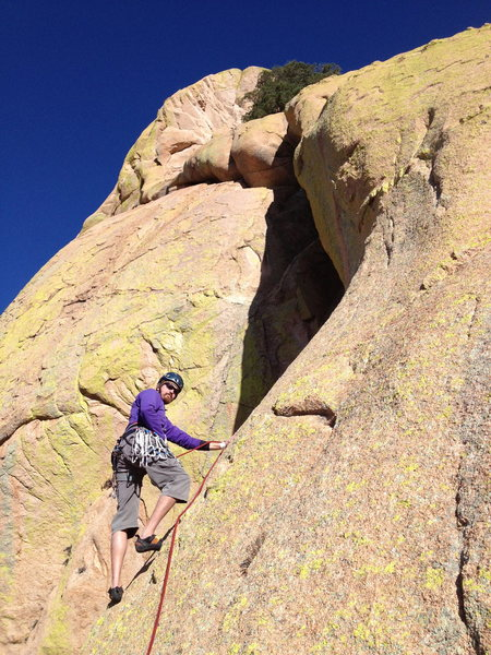 Rock Climbing Photo: Josh beginning the delicate (and scary) traverse a...