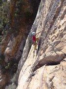 Rock Climbing Photo: Finishing up the first pitch on cool patina. Novem...