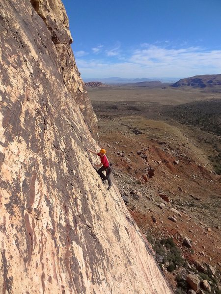 Leading up the fourth pitch. November 2012.