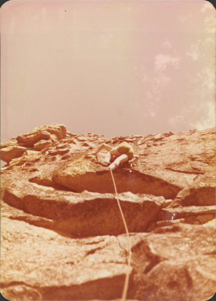 Paul Robie on 2nd ascent of Flashback<br> 1978