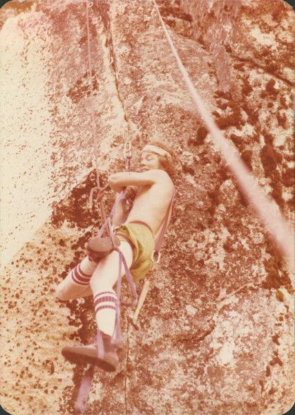 Rock Climbing Photo: Paul Robie following the FA 1978