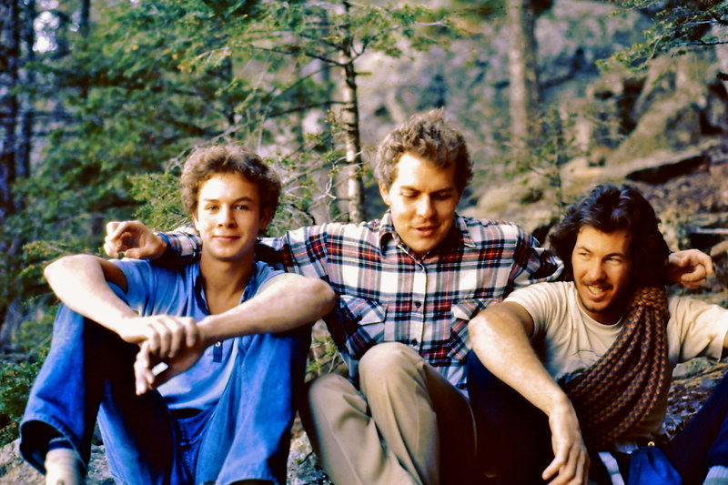 1980  Just lead 'Death and Transfiguration' - 11b, Boulder area.<br> <br> RKM, Pat Ament and Cam ? Photo - Mark Ward.