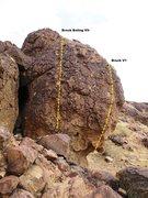Rock Climbing Photo: More Smack Boulder Left-side Topo