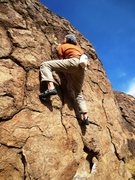Rock Climbing Photo: Starting the crux sequence