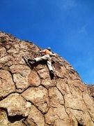 Rock Climbing Photo: Enjoying the improving holds on the tall finish.