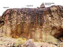 Rock Climbing Photo: Topo Gun Boulders Far Left Topo
