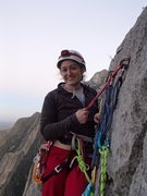 Rock Climbing Photo: Angela at top anchors of Satori.
