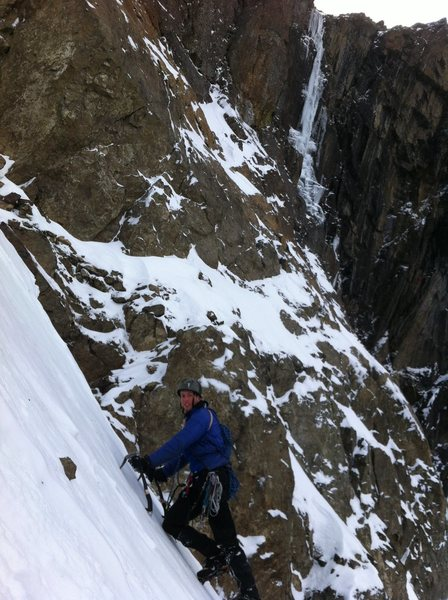 Travis down climbing the couloir after having climbed Hookers (visible in the back).