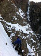 Rock Climbing Photo: Travis down climbing the couloir after having clim...