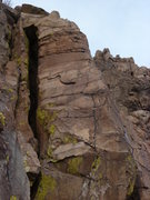 Rock Climbing Photo: The pinnacle with the climb.  You can see the anch...