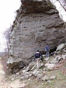 Rock Climbing Photo: Sour Girl goes up the middle of this large boulder...