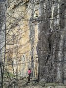 Rock Climbing Photo: Josh nearing the finishing section of Sybarite.