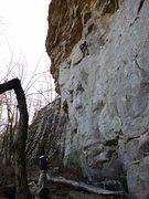 Rock Climbing Photo: Climbing through the technical crux moves of Talib...