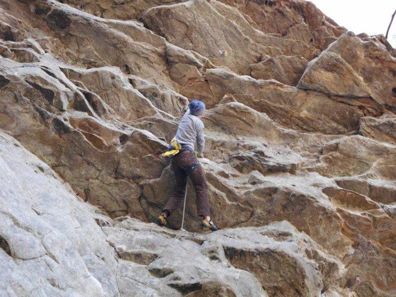 Rock Climbing Photo: Austin fighting the pump through the last steep se...