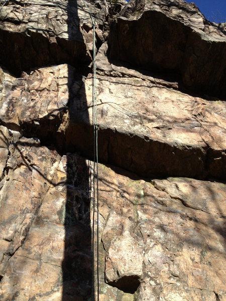 Rock Climbing Photo: Notch Johnson runs just left of the rope through t...