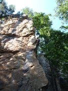 Rock Climbing Photo: Leading Leonid, North Forty, HCR