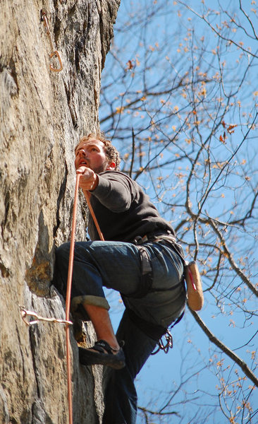 Rock Climbing Photo: Adam making a high clip.