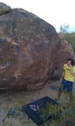 Rock Climbing Photo: The problem starts on east side of boulder all the...