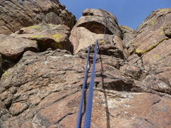 Rock Climbing Photo: Looking up from the second bolt on the bolted star...