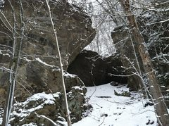 Rock Climbing Photo: Comic Gallery blanketed in December snow.