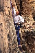 Rock Climbing Photo: Theresa leading Turbo Charged, Inter-Cooled Meat M...